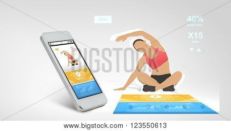 technology, fitness and sport concept - white smarthphone with sports application on screen