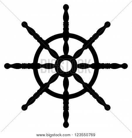 Ship wheel silhouette isolated on white background. Rudder. Helm wheel.