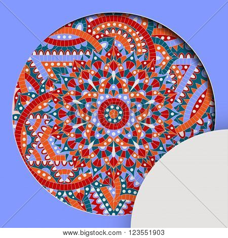 Round pattern with chakra manipura and text place. Oriental ornaments for banners, cards and for your design. Buddhism decorative elements. Red, orange and blue colors. Vector illustration.