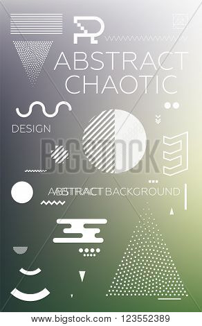 Modern universal chaotic composition of simple geometric shapes, colorful mesh gradation background in material design. It goes well with the text, poster, magazine, decor. In fiolet, green colors