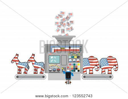 Factory Elections In America. Uncle Sam Says Democrats And Republicans. Voices Of Voters. Accounting