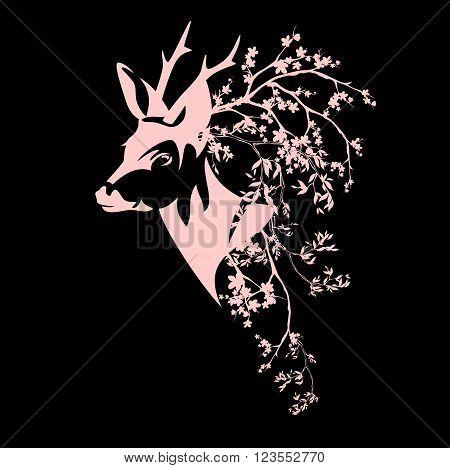 deer head among blooming branches - spring season vector design
