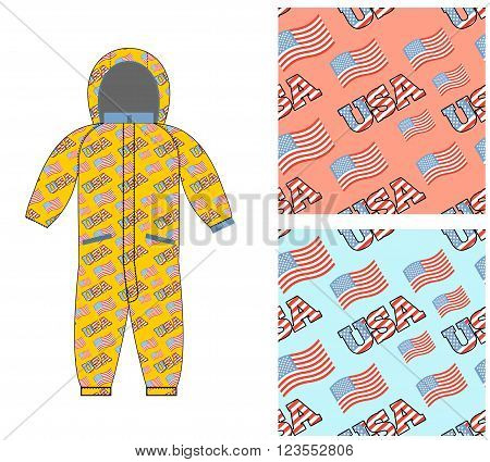 Patriotic Childrens Clothing. Childrens Clothing Template. Overall With Pattern Of  Usa Flag. Possib