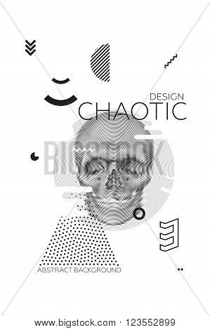Modern universal chaotic composition of simple geometric shapes, skull in spiral texture, material design. It goes well with the text, poster, magazine, decor. In classical black and white colors