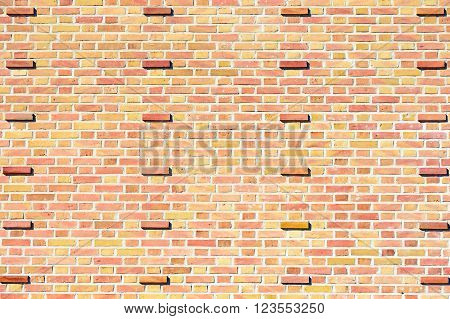 Pale yellow and red brick wall with protruding bricks at intervals. Interesting background.