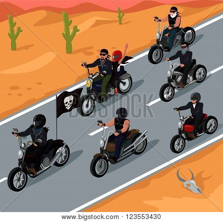 Bikers riding on the highway design. Bike and rider road motorcycle biker, motorbike travel, highway speed, adventure freedom bikers driver, motion transport riding vector illustration