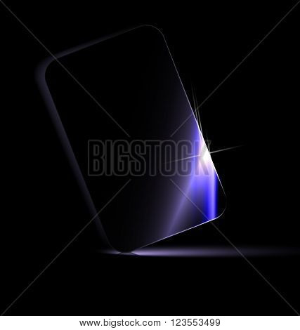 dark background and the large black card