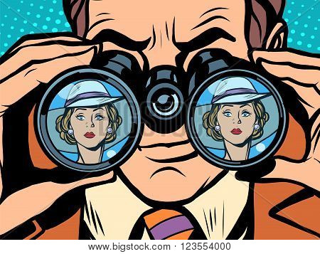 Love couple man woman binoculars pop art style retro. Love and jealousy. Surveillance