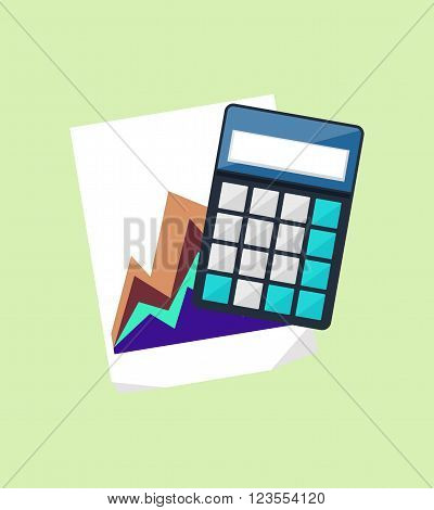 Calculator icon and chart isolated design flat. Calculate finance isolated, accounting and money, calculate tax, paper document chart, financial report data chart vector illustration