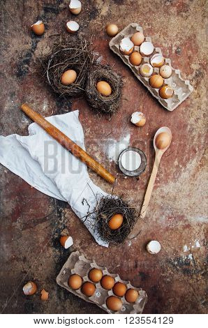 Baking Cake Ingredients - Bowl, Flour, Eggs, Egg Whites Foam, Eg