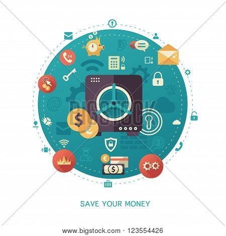 Modern flat design money savings business and finance vector infographics illustration with a safe and financial symbols and pictograms