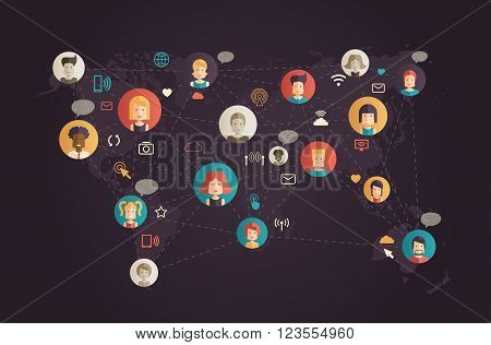 Modern flat designnetwork communication vector infographics illustration with people avatars in cogs and social networking pictograms and symbols on world map background