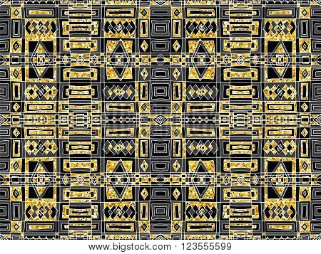 Background Abstract Tribal Golden Glitter Black Ornament 1