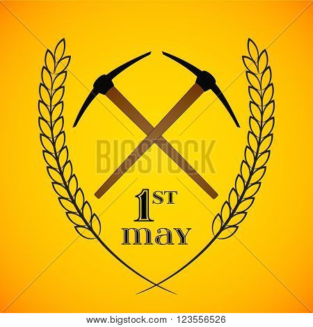 May Day. May 1st. Labor Day background with two crossed pickaxes . Poster greeting card or brochure template symbol of work and labor vector icon