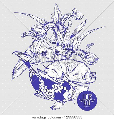 Vintage monochrome pond water flowers vector greeting card, Botanical shabby chic illustration iris, lily, carp, snail leaves and twigs Floral design elements.