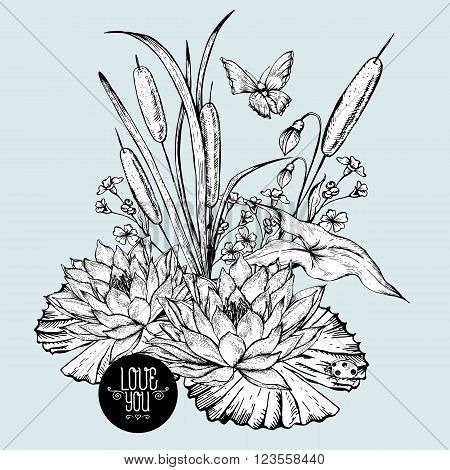 Vintage monochrome pond water flowers vector greeting card, Botanical shabby chic illustration reeds, butterfly, lily, ladybird wildflowers leaves and twigs Floral design elements.