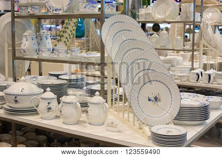 BANGKOK THAILAND - JANUARY 7 2016 : Section of ceramic tableware Patra in supermarket Siam Paragon. Siam Paragon is a one of the biggest shopping centres in Asia.