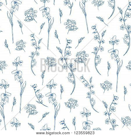 Vintage blue monochrome wildflowers vector seamless pattern, Botanical shabby chic illustration leaves and twigs floral design elements.