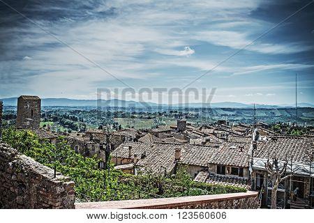 San Gimignano landscape on a cloudy day Italy