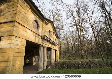 Historic watermill in the Monza Park (Lombardy Italy) at winter