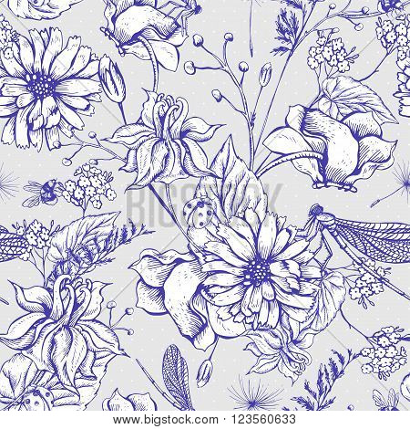 Vintage monochrome garden flowers vector seamless pattern, Botanical shabby chic illustration wild flowers, dragonflies, bees, ladybird, daisies leaves and twigs Floral design elements.