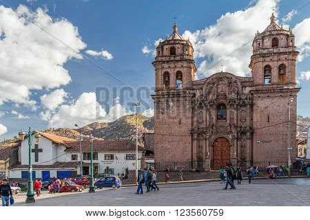 Cusco, Peru - Circa June 2015: Saint Peter Church And Plaza San Pedro In Cusco,  Peru
