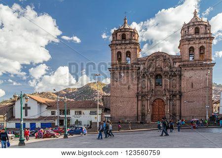 Cusco, Peru - Circa June 2015: Saint Peter Church And Plaza San Pedro In Cusco,  Peru