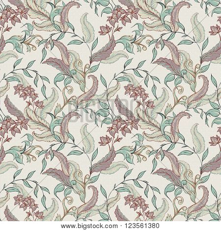Vintage hand drawn baroque seamless pattern with swirls, flowers, vector illustration