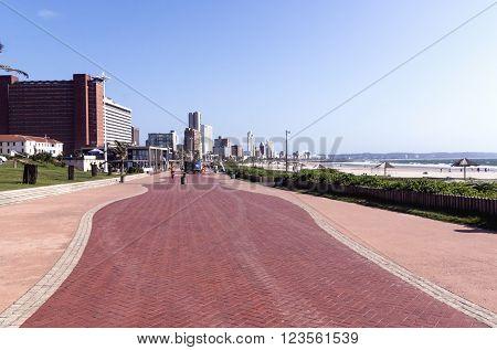 Clean Empty Pedestrian Walkway At Durban Beachfront