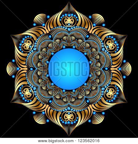 illustration background with a circular gold ornaments with prec