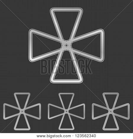 Silver line loop symbol logo design set