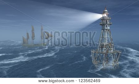 Computer generated 3D illustration with lighthouse and sailing ship at night in the stormy ocean