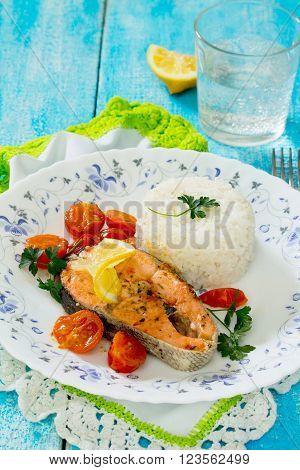 Salmon Steak With Tomato Sauce, Selective Focus
