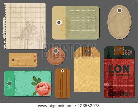 Vintage Tags and Scraps of Paper - Set of tattered vintage tags, torn notepaper pages and luggage tags, to be used for scrapbooks, journals, picture albums and as graphic resources for print
