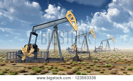 Computer generated 3D illustration with oil pumps in a landscape