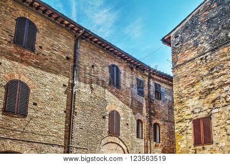 brick facades in San Gimignano in Italy