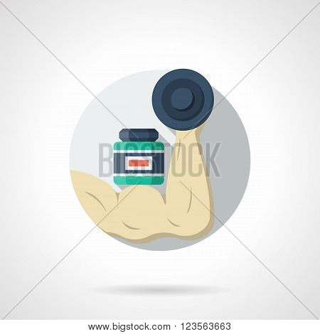 Bodybuilder nutritional supplements. Muscle arm with dumbbell and sport supplements jar. Round single detailed flat color vector icon. Web design elements for business, site, mobile app.