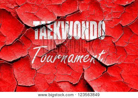 Grunge cracked taekwondo sign background with some soft smooth lines