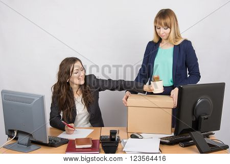 Office Employee Happily Helps Collect Things Sacked Colleague