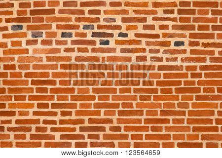 Old brick wall. Texture of wall from a red brick. The background of bricks. Brickwork of an ancient building.
