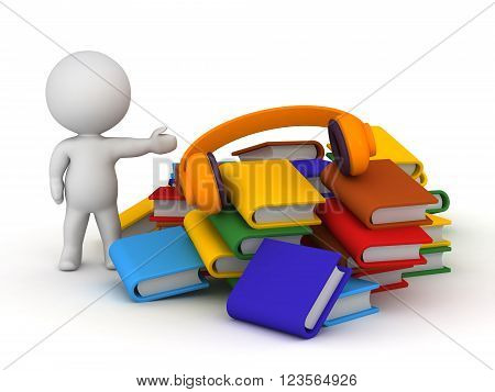 3D character showing a pile of colorful books and a pair of headphones. Isolated on white background.