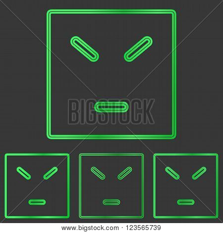 Green line anger concept logo design set
