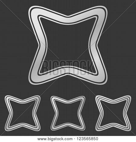 Silver line curved square logo design set