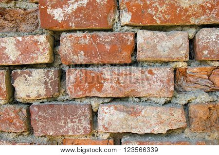 Brick masonry old wall. Texture of wall from a red brick. The background of bricks. Brickwork of an ancient building.