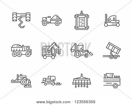 Agricultural transport. Farm machinery. Harvester vehicles. Collection of black line style vector icons. Elements for web design and mobile.