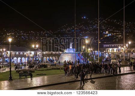 Cusco, Peru - Circa June 2015: Plaza De Armas Mayor And Haukaypata In Cusco, Peru By  Night