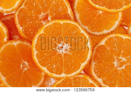 background of slices of clementine fruit, close up