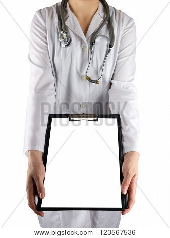 Female doctor's hand holding stethoscope and clipboard isolated on white background. Concept of Healthcare And Medicine. Copy space.