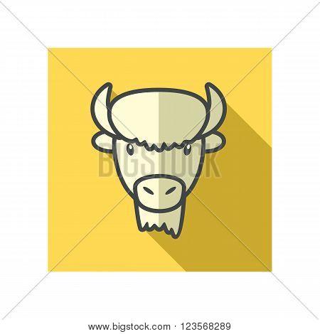 Bison bull buffalo ox flat icon. Animal horned head vector symbol eps 10