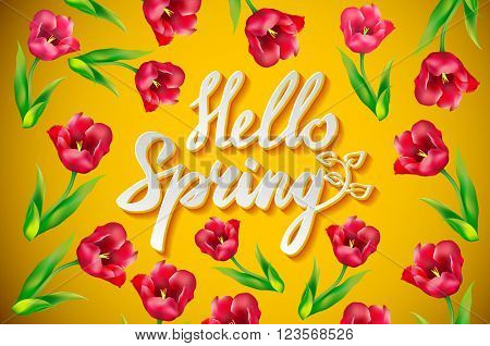 Hello Spring Poster Design In Realistic Colorful Vector Flowers Background With Vines For Spring Sea